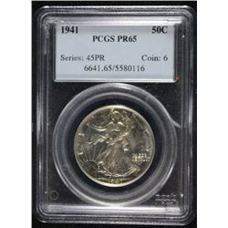 1941 WALKING LIBERTY HALF DOLLAR, PCGS PR-65