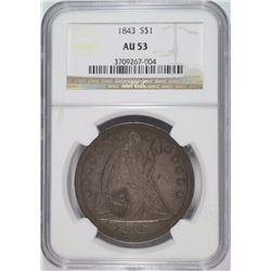 1843 SEATED LIBERTY DOLLAR, NGC AU-53