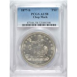 1877-S TRADE DOLLAR PCGS AU-58 CHOP MARK