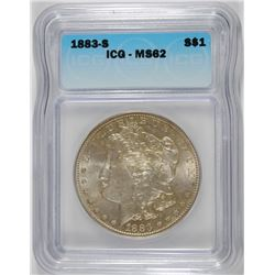 1883-S MORGAN DOLLAR ICG MS 62 NICE!!