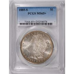 1885-S MORGAN SILVER DOLLAR, PCGS MS-65+  LOOKS LIKE A 66!