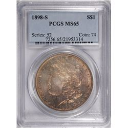 1898-S MORGAN DOLLAR PCGS MS-65 LIGHTLY TONED