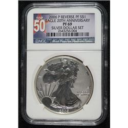 2006-P 20th ANNIVERSARY SILVER EAGLE, REVERSE PROOF, NGC PR-69