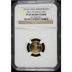 2011-W 25th ANNIVERSARY $5.00 GOLD EAGLE, NGC PF-69 ULTRA CAMEO
