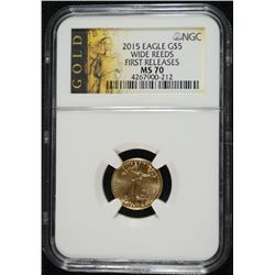 2015 $5.00 GOLD EAGLE ( WIDE REEDS )  NGC MS-70! FIRST RELEASES