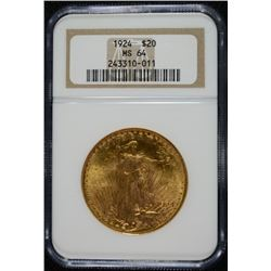 1924 $20.00 ST. GAUDENS GOLD, NGC MS-64