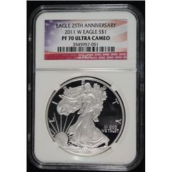 2011-W AMERICAN SILVER EAGLE, NGC PR-70 ULTRA CAMEO