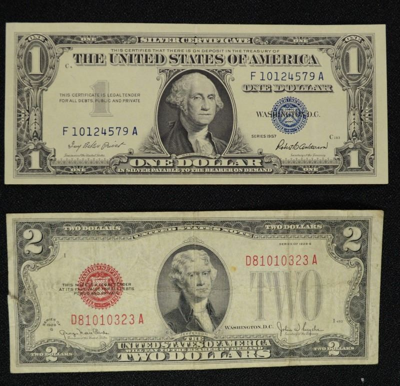 2 Collectible Notes 1928 2 Red Seal 1957 Silver Certificate