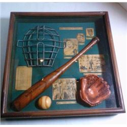 Sports Memorabilia Shadow box (The history of Baseball)