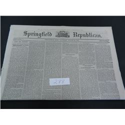 Springfield Republican (Mass.) Newspaper from the Year 1865, Guaranteed Old!