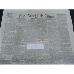 The New York Times Newspaper from either 1859 or 1868, Guaranteed Old!