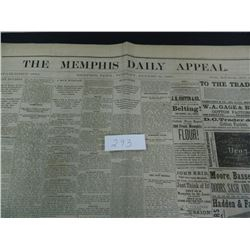 Memphis Daily Appeal newspaper from the year 1880, Guaranteed Old!