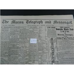 The Macon Telegraph & Messenger (Georgia) newspaper from the year 1878, Guaranteed Old!