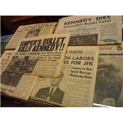 6 Newspapers from Kennedy's Assassination 1963