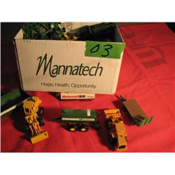Box of miniature agriculture and industrial toys