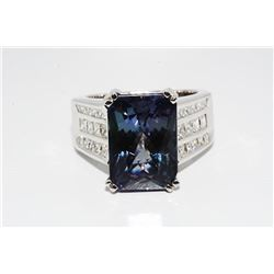 14 CT Tanzanite & Diamond 14K White Gold Ring