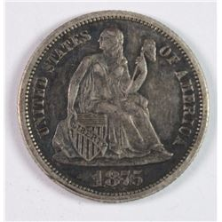 1875-CC SEATED LIBERTY DIME AU