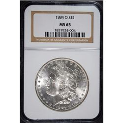 1884-O MORGAN SILVER DOLLAR NGC MS65 BLAST WHITE