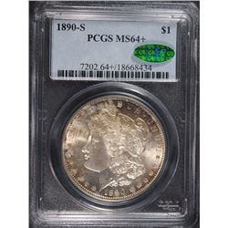 1890-S MORGAN SILVER DOLLAR PCGS 64+ - CAC - LOOKS 65!