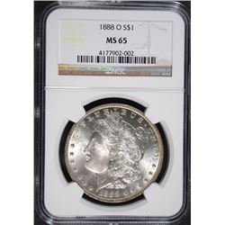 1888-O MORGAN SILVER DOLLAR NGC MS65