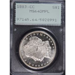 "1883-CC MORGAN SILVER DOLLAR PCGS MS64 DMPL ""RATTLER HOLDER"" PQ COIN!"