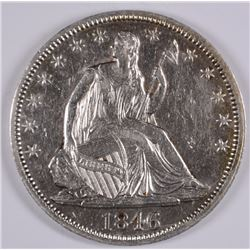 1846 SEATED LIBERTY HALF BU CLEANED