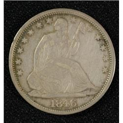 1846-O SEATED LIBERTY HALF AU