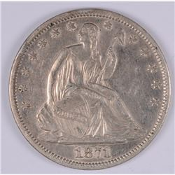 1871-S SEATED LIBERTY HALF DOLLAR,  AU+
