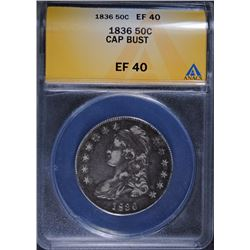1836 CAPPED BUST HALF DOLLAR ANACS EF40 - NICE ORIGINAL COIN