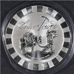 FIVE OUNCE .999 SILVER ROUND ( PROSPECTOR ) FROM SILVERTOWNE, NICE DESIGN