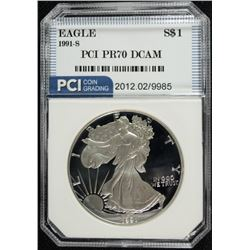 1991-S AMERICAN SILVER EAGLE PCI PERFECT PROOF DCAM