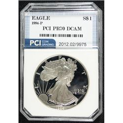 1994-P  AMERICAN SILVER EAGLE PCI PERFECT PROOF DCAM