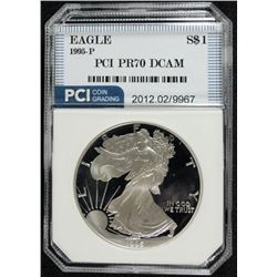 1995-P  AMERICAN SILVER EAGLE PCI PERFECT PROOF DCAM