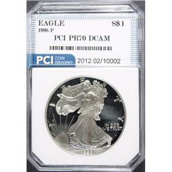1998-P  AMERICAN SILVER EAGLE PCI PERFECT PROOF DCAM