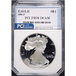 1999-P  AMERICAN SILVER EAGLE PCI PERFECT PROOF DCAM