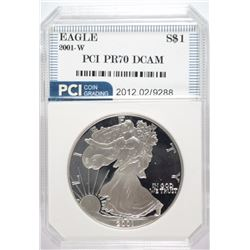 2001-W AMERICAN SILVER EAGLE PCI GRADED PERFECT PROOF DCAM