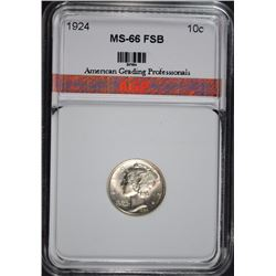 1924 MERCURY DIME AGP SUPERB GEM  FSB