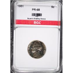 1951 JEFFERSON NICKEL BGC GEM PROOF