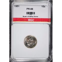 1951 ROOSEVELT DIME BGC GEM PROOF