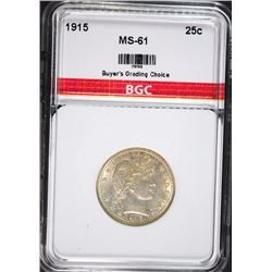 1915 BARBER QUARTER BGC CHOICE BU
