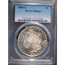 1880-S MORGAN SILVER DOLLAR, PCGS MS-64+
