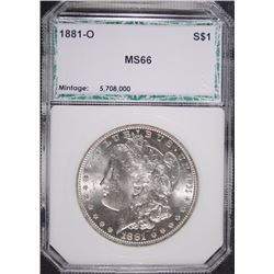 1881-O MORGAN SILVER DOLLAR, PCI SUPERB GEM BU
