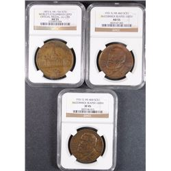 3 - SO-CALLED DOLLARS; 2-1931 McMORMICK REAPER NGC XF45 & AU55 & 1893 WORLD'S