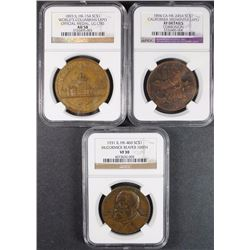 3 - SO-CALLED DOLLARS; 1931 McCORMICK REAPER NGC VF30,1894 CA MIDWINTER EXPO NGC