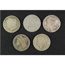 ( 5 ) LOW GRADE MORGAN SILVER DOLLARS: 1879-S, 1883 , 1884-O, 1901 & 1886-O,