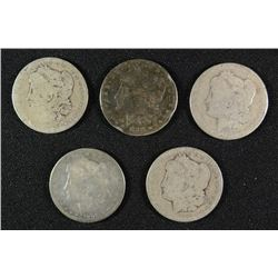( 5 ) LOW GRADE MORGAN SILVER DOLLARS:1883-O, 1889-O, 1885, 1896-O & 1882-O
