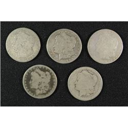 ( 5 ) LOW GRADE MORGAN SILVER DOLLARS: 1883, 1882-S, 1887-O,  1897-S & 1881