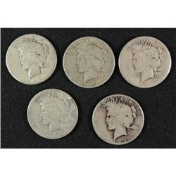 ( 5 ) LOW GRADE PEACE SILVER DOLLARS: 1922, 1923-S, 1923-D, & (2) 1924-S