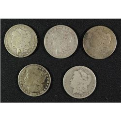 ( 5 ) LOW GRADE MORGAN SILVER DOLLARS:1883, 1884, 1890-O, 1891 & 1880-O