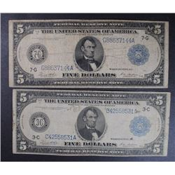2 - $5 LARGE FEDERAL RESERVE NOTES; 1914F PHILADELPHIA 3-C  & 1914F CHICAGO 7-G